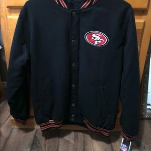 San Francisco 49ers Black Embroidered Wool Jacket